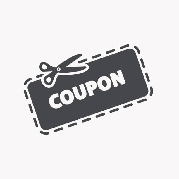 illustrazioni stock, clip art, cartoni animati e icone di tendenza di discount coupon icon - coupon