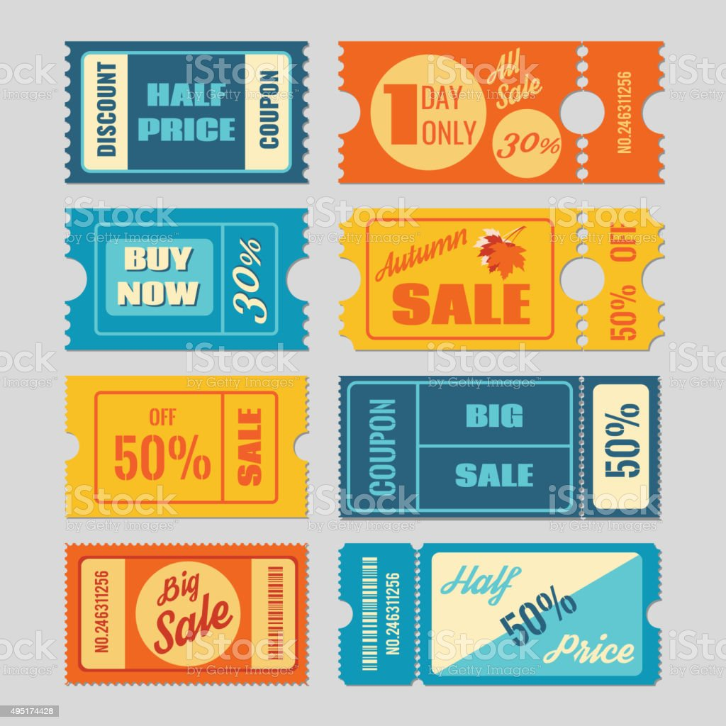 Discount coupon, sale tickets vector set vector art illustration
