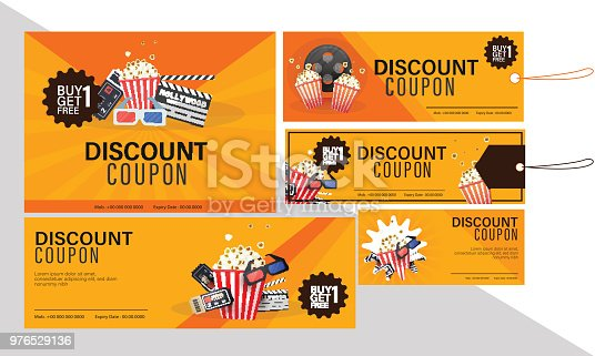 Discount coupon set for movies with food combo offers.