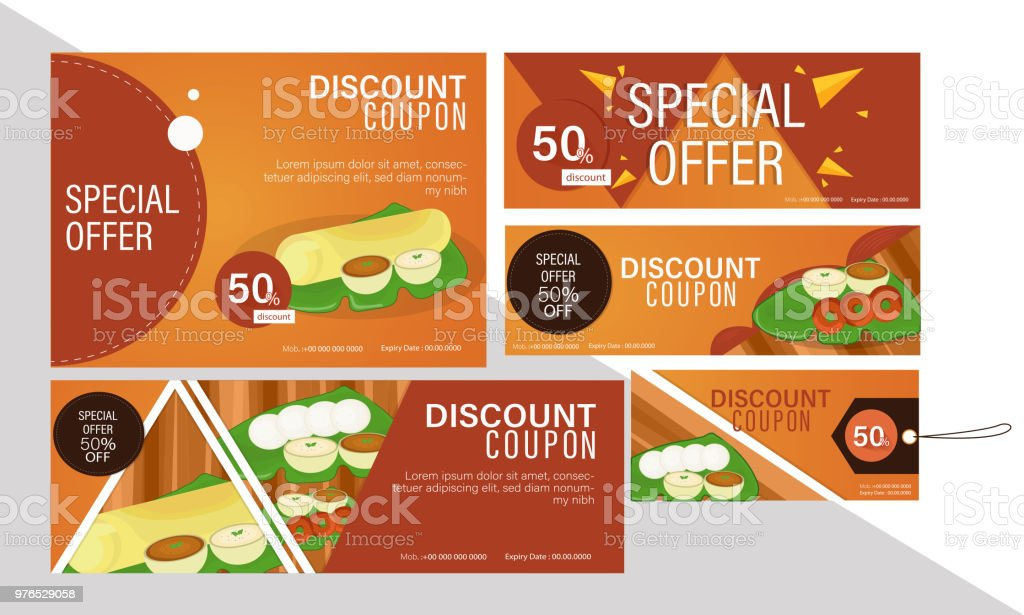 Discount Coupon Set On South Indian Cuisine For Restaurants Various Size Coupons Or Stickers Stock Illustration Download Image Now Istock