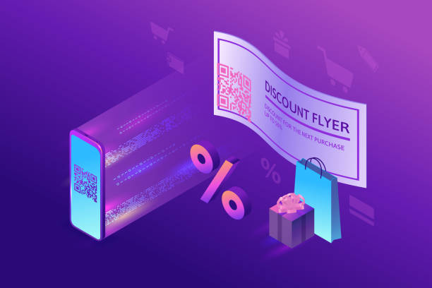 Discount coupon with QR code, scanning voucher by smartphone to get a special offer, loyalty program mobile  application, 3s isometric infographic vector illustration, purple gradient  sale concept vector art illustration