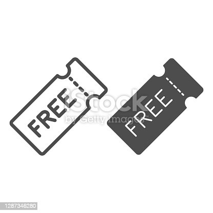 istock Discount coupon with text for free line and solid icon, Black Friday concept, Discount and gift, offer symbol on white background, Free Price Tag icon in outline style for mobile. Vector graphics. 1287346280