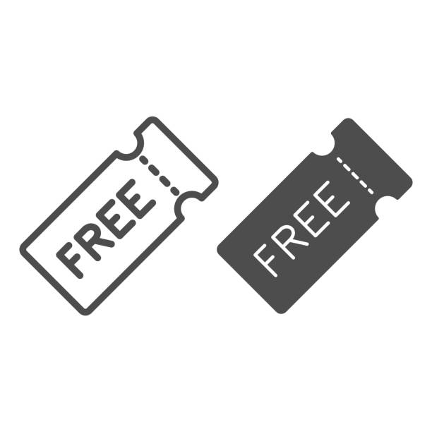Discount coupon with text for free line and solid icon, Black Friday concept, Discount and gift, offer symbol on white background, Free Price Tag icon in outline style for mobile. Vector graphics. Discount coupon with text for free line and solid icon, Black Friday concept, Discount and gift, offer symbol on white background, Free Price Tag icon in outline style for mobile. Vector graphics tickets and vouchers templates stock illustrations
