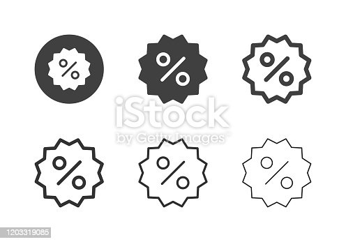 Discount Label Icons Multi Series Vector EPS File.