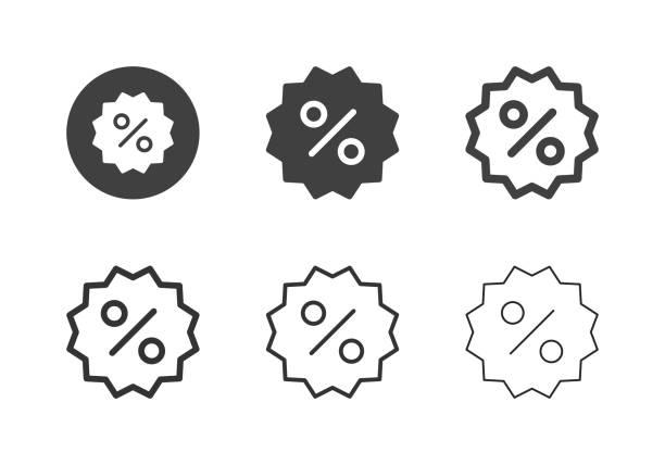 Discount Label Icons - Multi Series vector art illustration