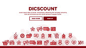 Discount Landing Web Page Header Banner Template Vector. Percent Sign With Present Box And Heart, GPS Mark And Text Box Frame, Star And Scissors Discount Illustration