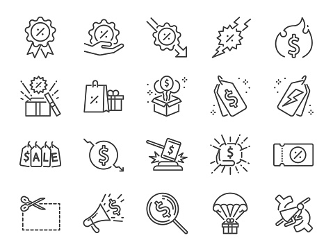 Discount line icon set. Included icons as Sale, Shopping, percent, promotion, badge, clearance and more.