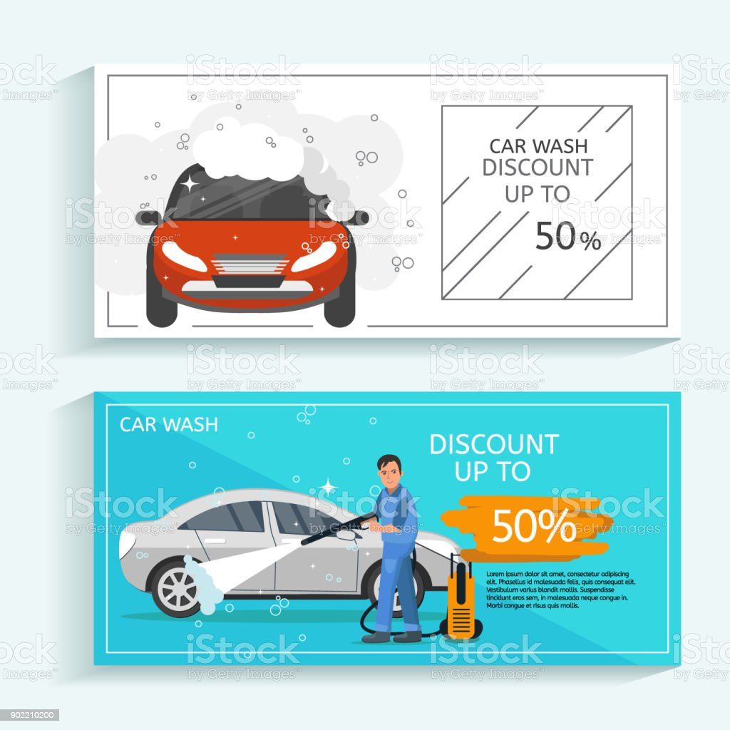 Discount offer flyer concept for car wash service.