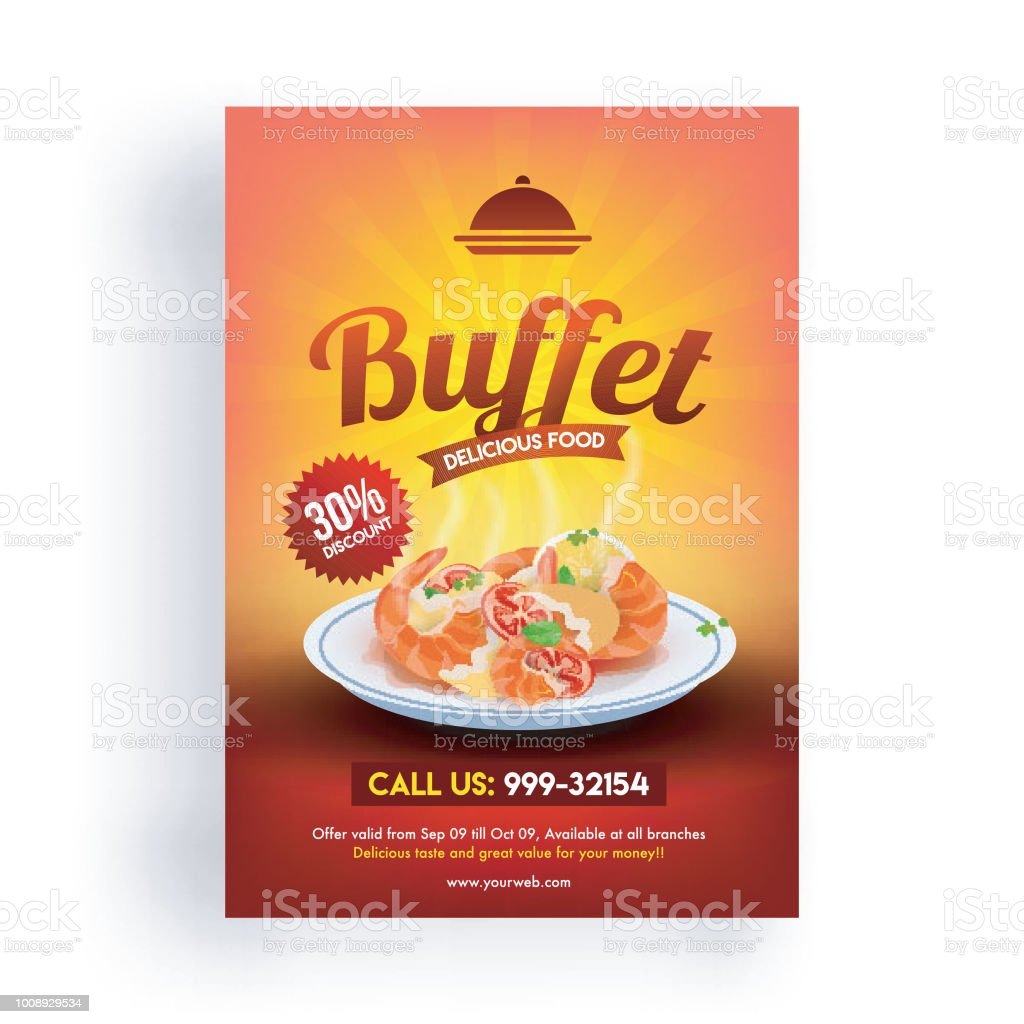 30 Discount Offer Flyer Of Buffet Delicious Food Template Design For