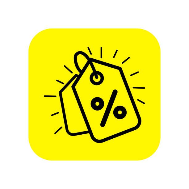 i̇ndirim fiyat etiketi düz vektör simgesi. sarı arka planda düz vektör simgesine indirim ler. satış düz vektör simgesi. - sale stock illustrations