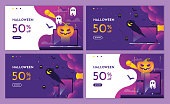Discount Purple halloween night event with pumpkin and devices. landing page website, background and banner design template.