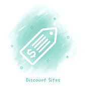 Vector price tag line icon over watercolor background.