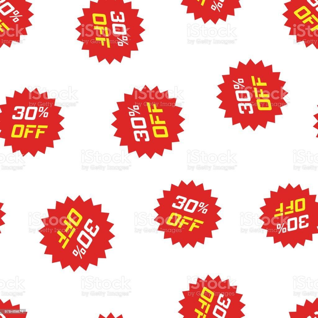 4b065b09a5 Desconto adesivo ícone sem costura de fundo. Ilustração em vetor conceito  empresarial. Padrão de