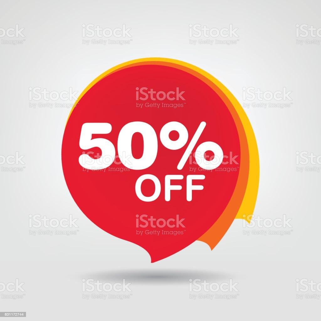 50 Rabatt Rabatt Aufkleber Red Tag Isoliert Verkauf