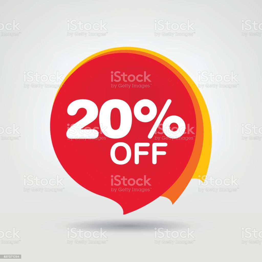20% OFF Discount Sticker. Sale Red Tag Isolated Vector Illustration. Discount Offer Price Label, Vector Price Discount Symbol. vector art illustration