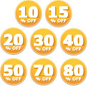 Yellow discount stickers set, vector eps10 illustration