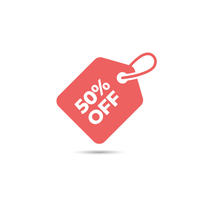 Discount Tag Icon. 50% Off Label and Price Tag Vector Design on White Background.
