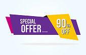 90% Discount Tag with Special Offer Ribbon. Sale Label with Advertisement Offer Design Template. Modern Graphic Style Vector Illustration.