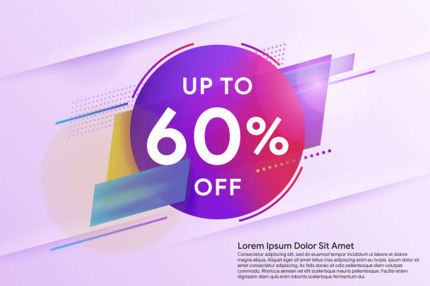 Discount up to 60% off. Sale special offer banner. Trendy minimal design as template for cover, presentation, banner. vector art illustration