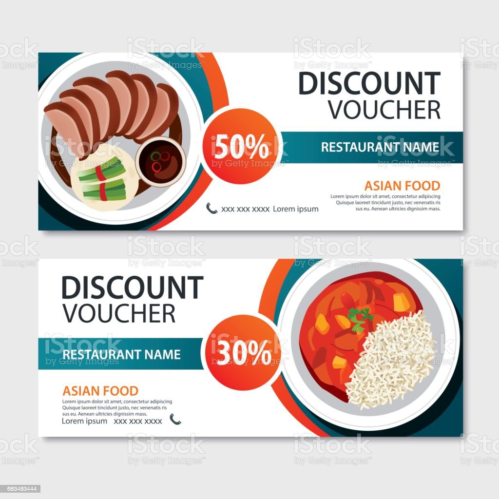Discount voucher asian food template design. Chinese set vector art illustration