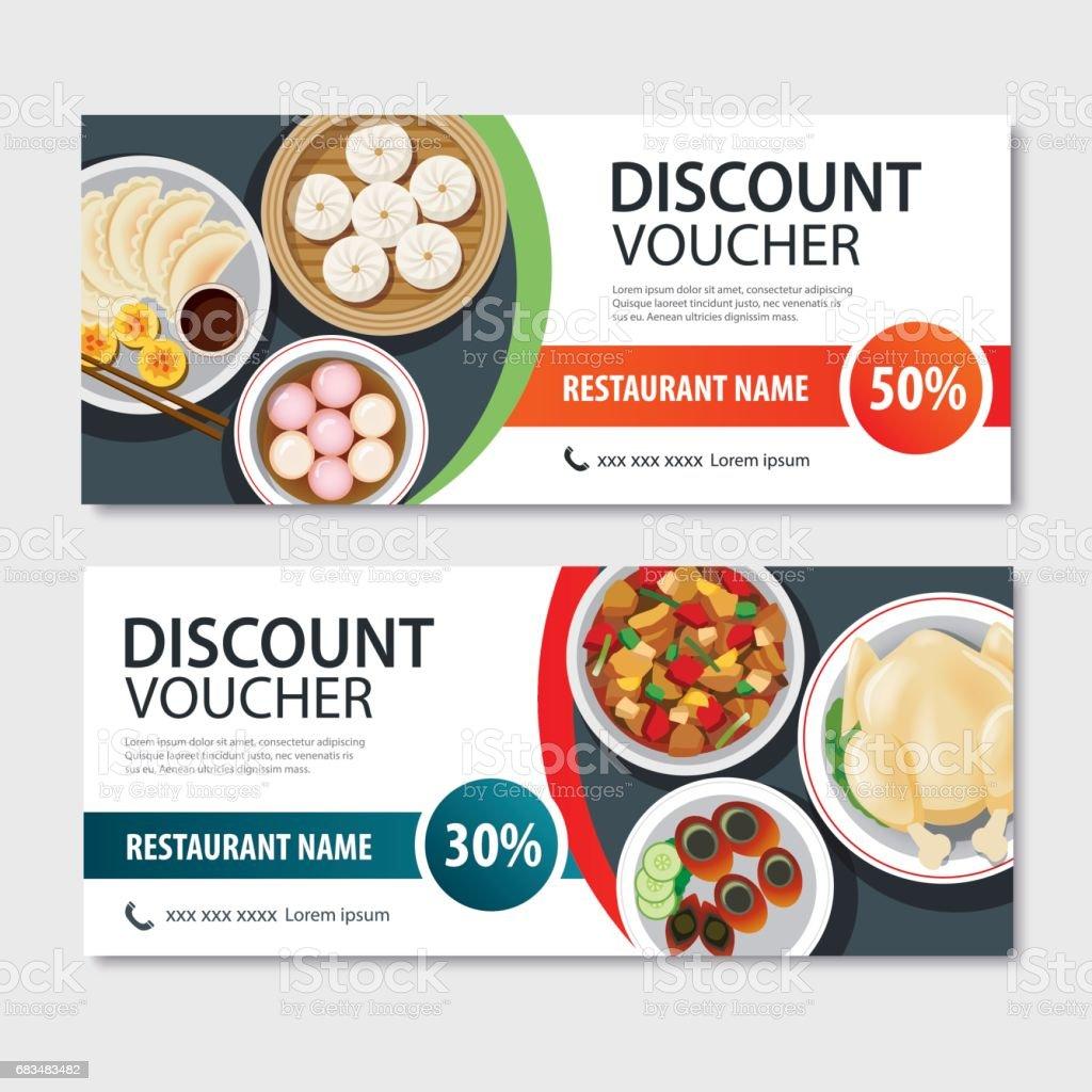 Discount voucher asian food template design. Chinese set vector art illustration