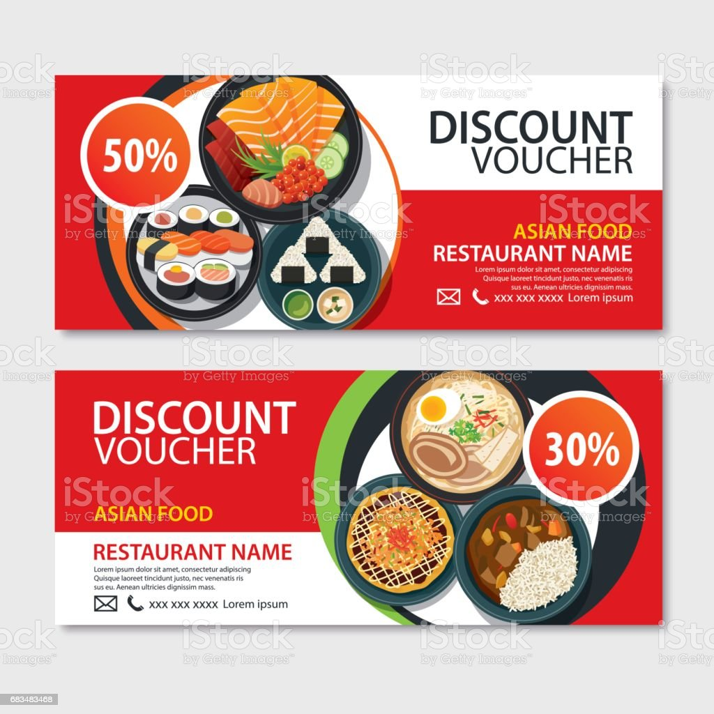 Discount voucher asian food template design. Japanese set vector art illustration