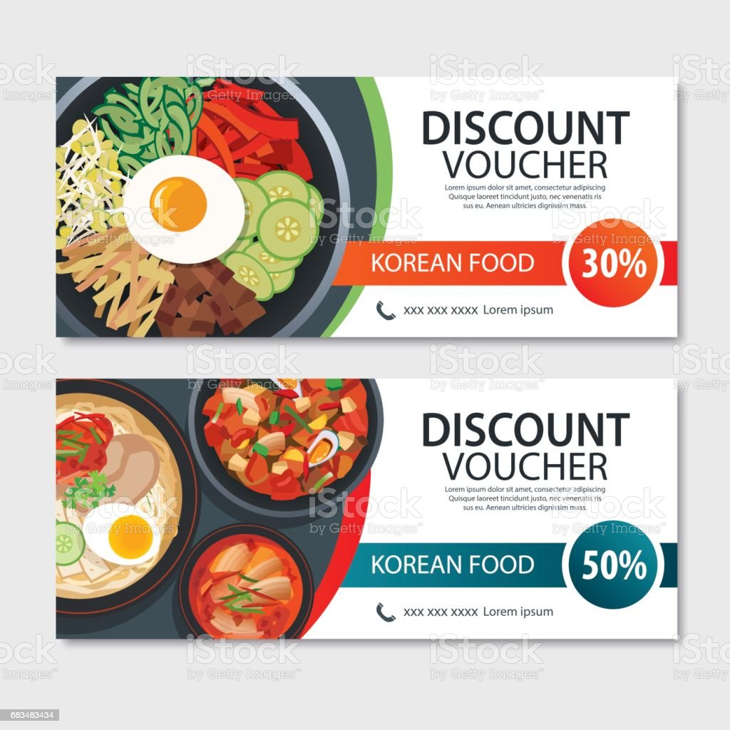 Discount voucher asian food template design. Korean set vector art illustration