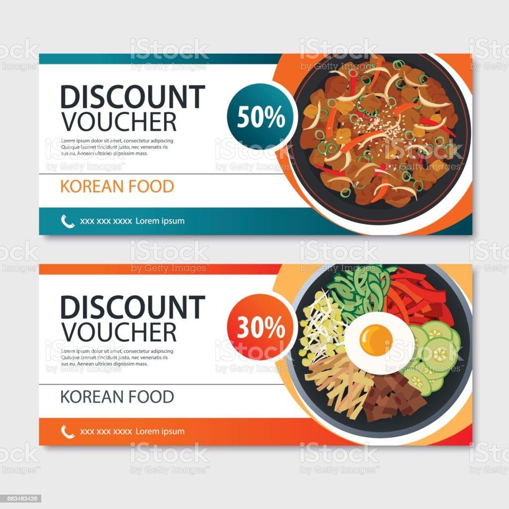 Discount voucher asian food template design. Korean set vector art illustration