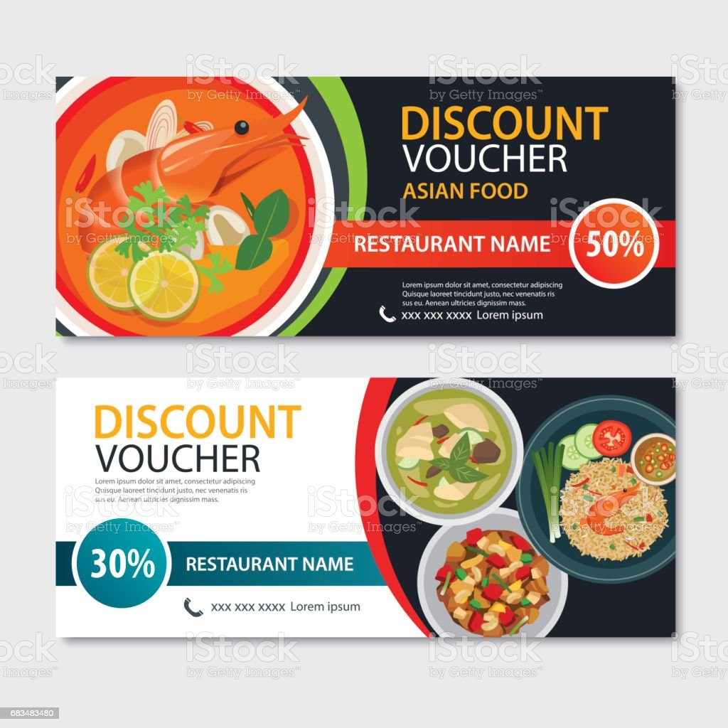 Discount voucher asian food template design. Thailand set vector art illustration
