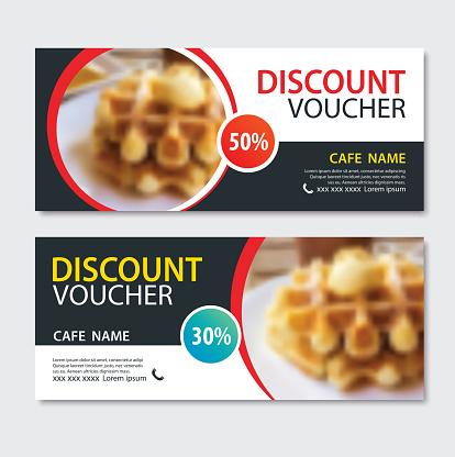 Discount voucher dessert waffle in template design.