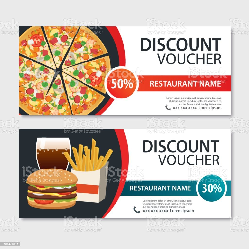 Discount Voucher Fast Food Template Design. Set Of Pizza, Hamburger, French  Fries.  Meal Voucher Template