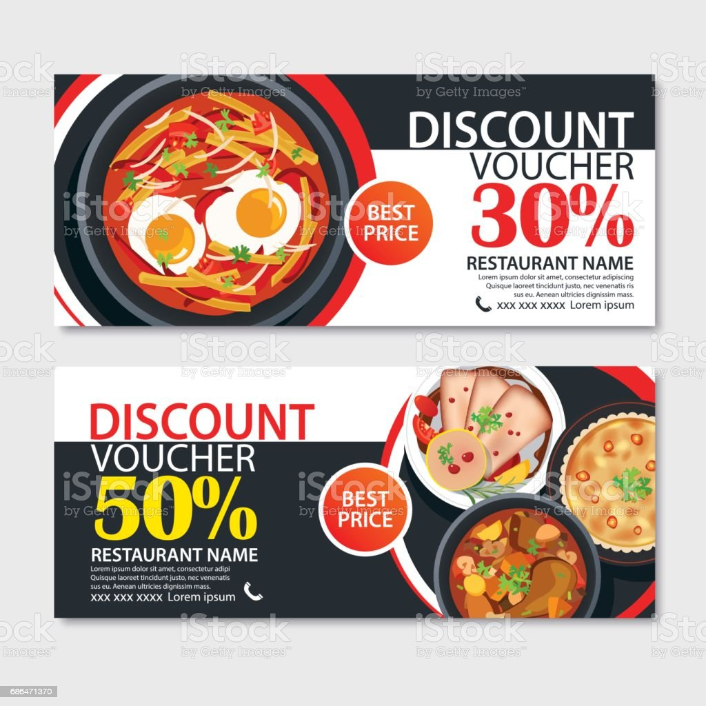 Discount Voucher French Food Template Design Stock Vector Art More