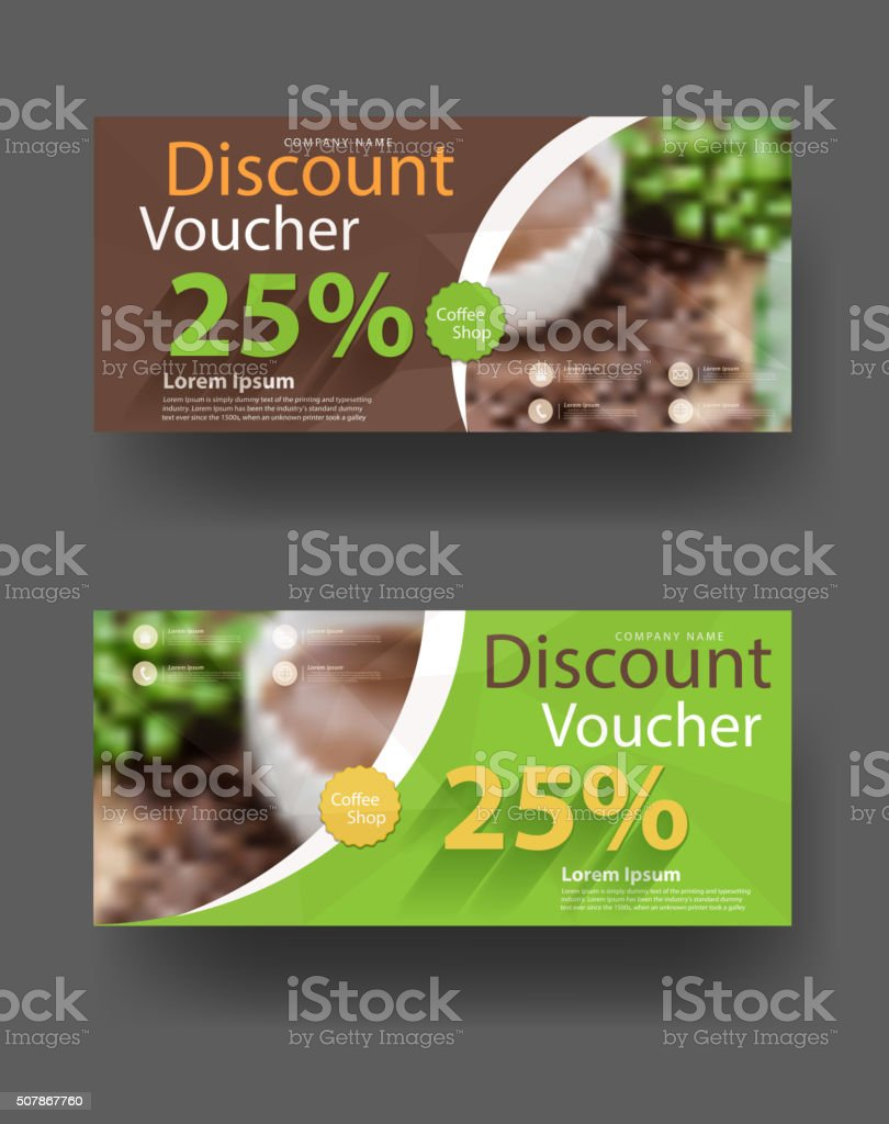 Discount Voucher Template With Blurred Cup Of Coffee Background Royalty Free  Discount Voucher Template With  Free Discount Vouchers