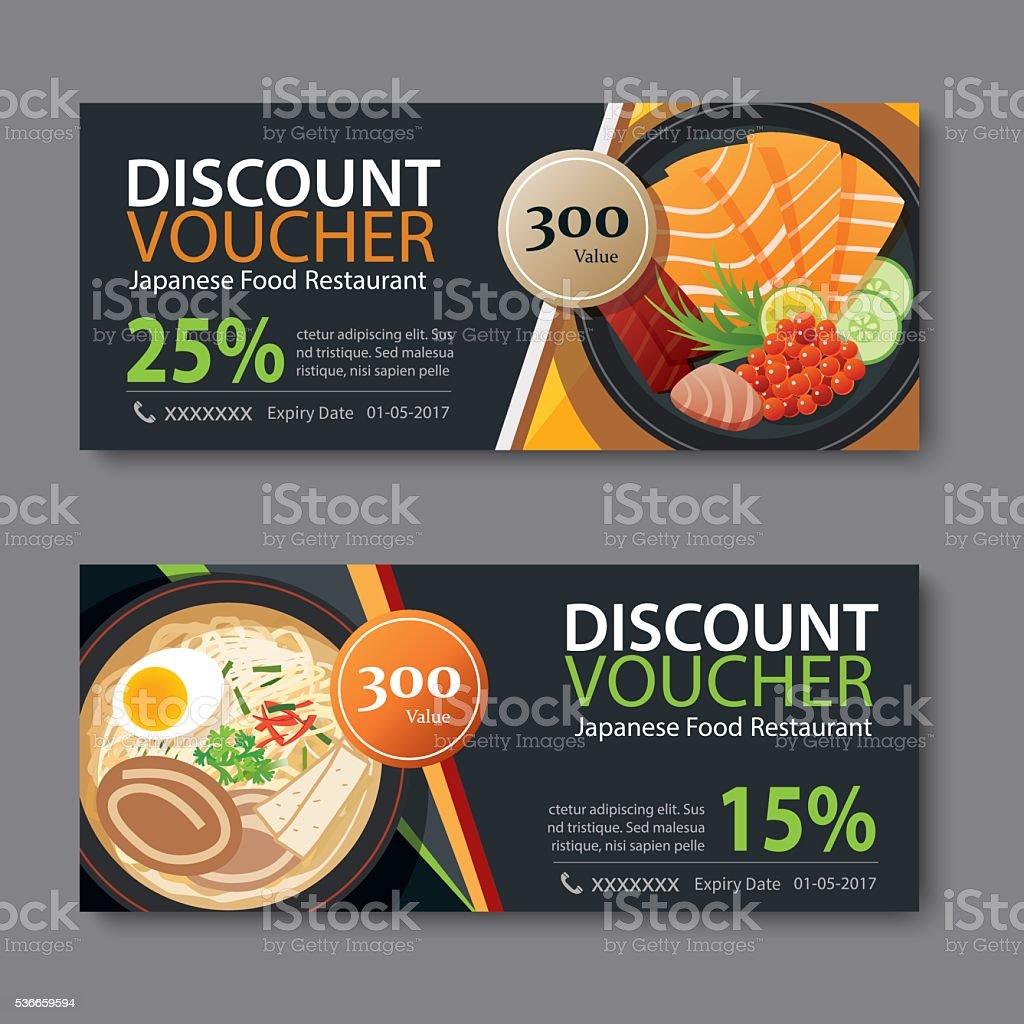 Bon de réduction de modèle avec des plats japonais à conception - Illustration vectorielle