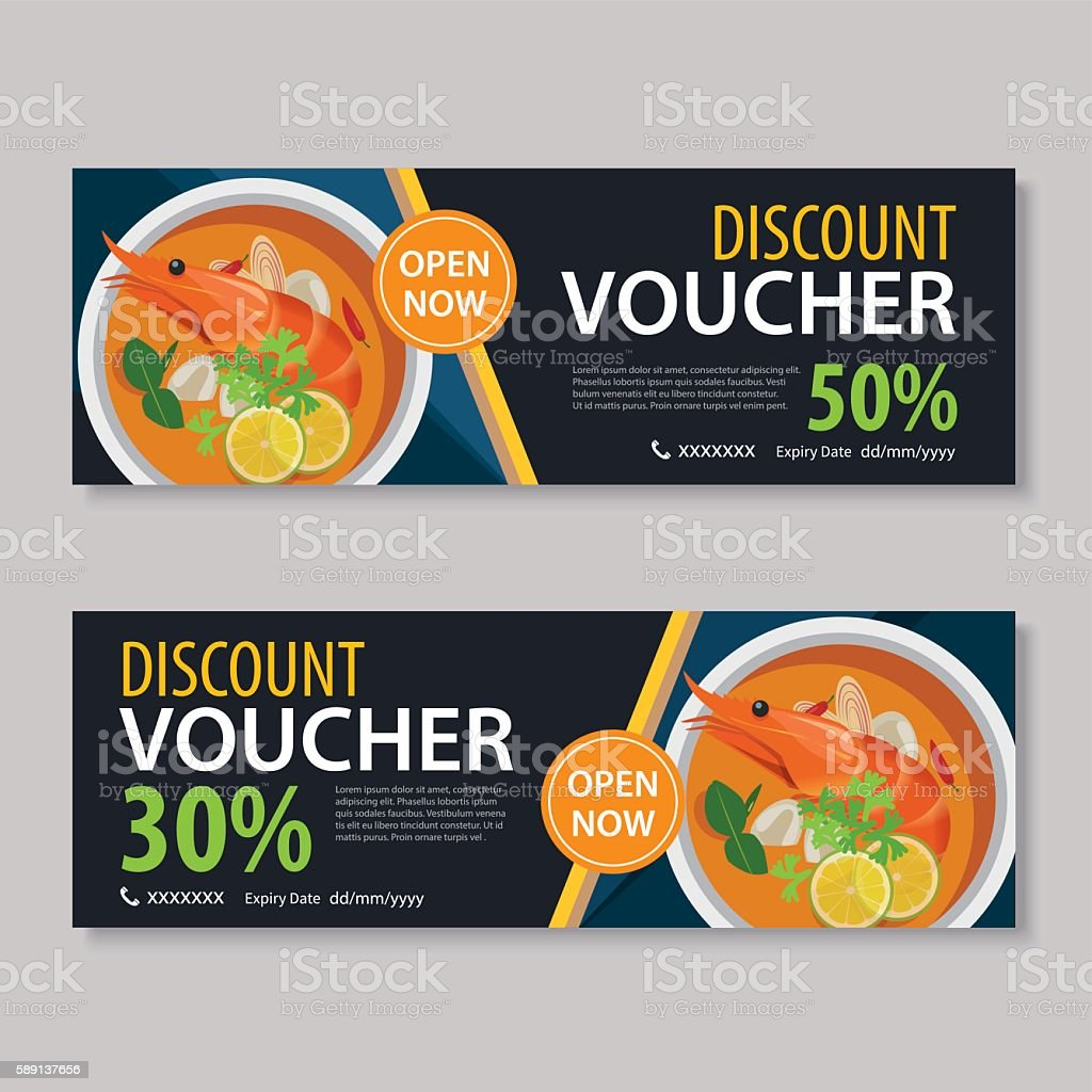 Discount Voucher Template With Thai Food Flat Design Royalty Free Discount Voucher  Template With Thai