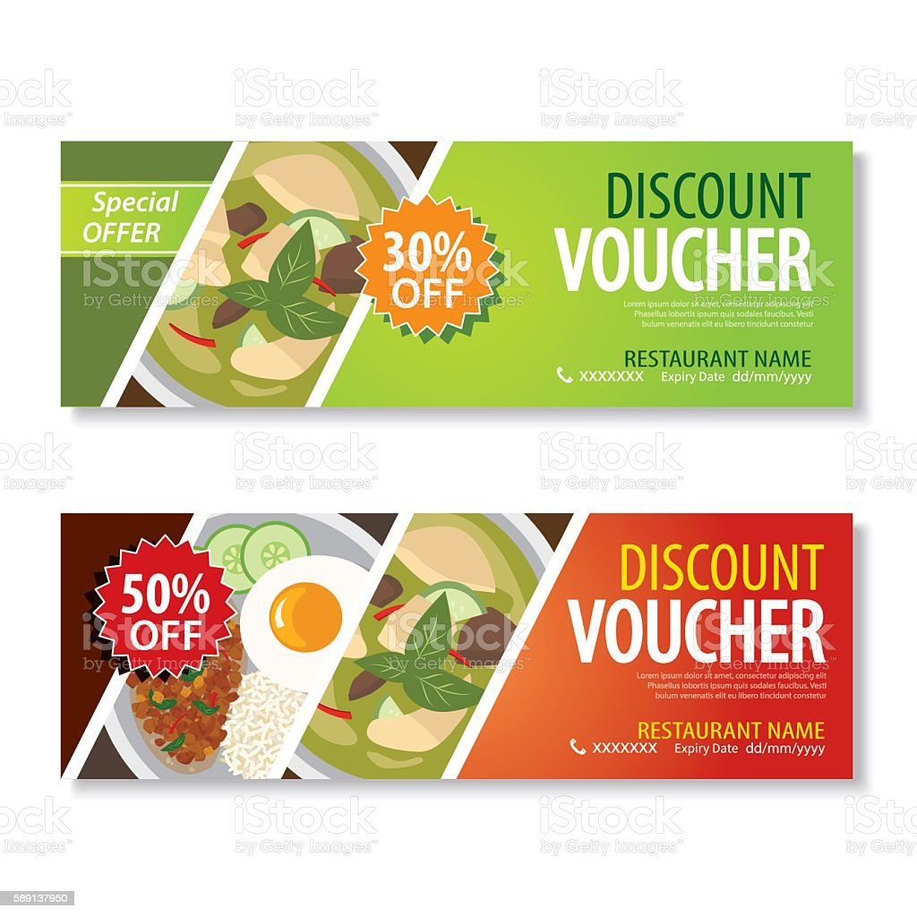 discount voucher template with thai food flat design vector art illustration