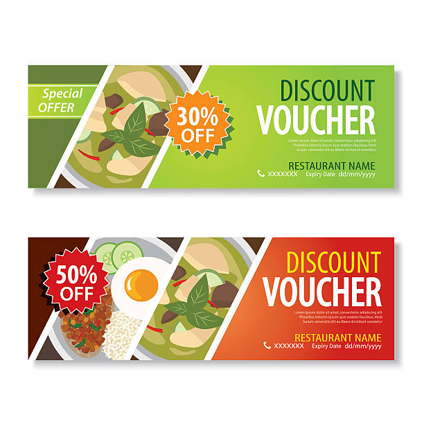 discount voucher template with thai food flat design - coupon stock illustrations, clip art, cartoons, & icons