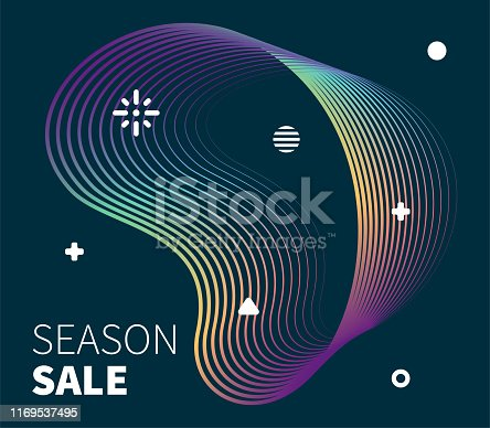 Discounted price graphic design with abstract gradient line waves. Minimalist graphic template for placards, presentations, banners, brochures.