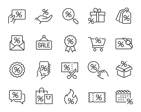 Discounts and Sales Icons Set. Collection of simple linear web icons such Discount Gift, Discount Coupons, Sales, Black friday, Discount Search, Coupon Presenting and others. Editable vector stroke