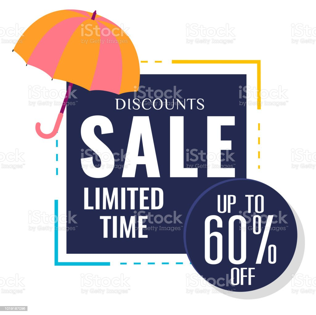 5dc3a4934 Discounts Sale Limited Time Up To 60% Off Umbrella Background Vector Image  - Illustration .