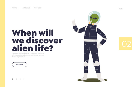 Discover alien life concept of landing page with space craft alien astronaut. Green cosmos monster