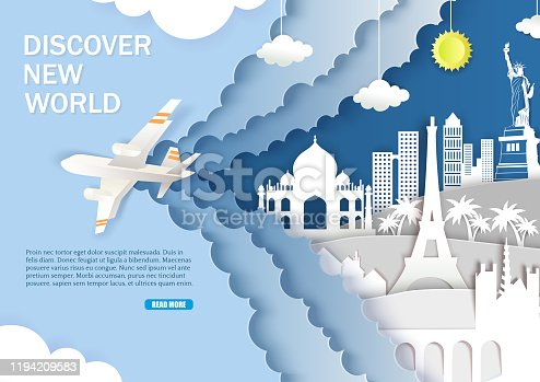 Discover new world web banner template. Vector layered paper cut style sky, airplane and world famous landmarks silhouettes. Worldwide tour, tourism, travel by air.