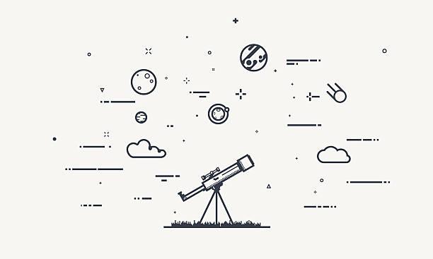 discover telescope concept - sternwarte stock-grafiken, -clipart, -cartoons und -symbole