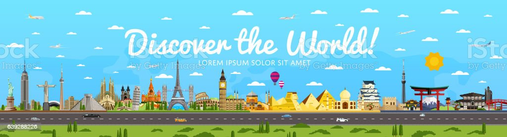 Discover the World poster with famous attractions - Royalty-free ABD Vector Art