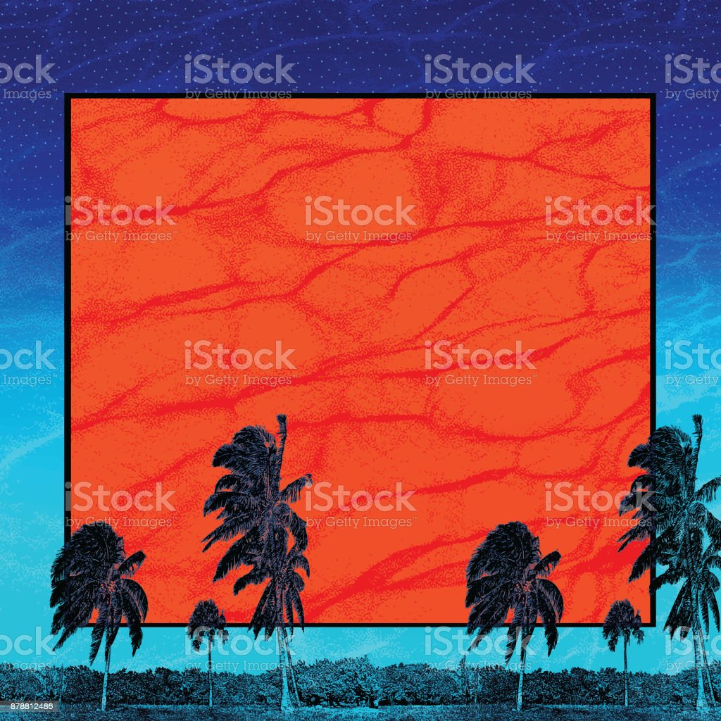 Discovering Mexico. Colorful tropical background with palm trees and water reflections. Frame with copy space vector art illustration