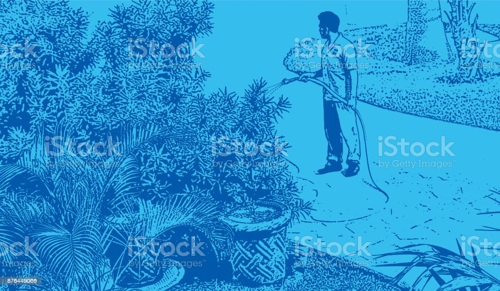 Discovering Mexico. Landscaper watering garden at a luxury tourist resort on the Mayan Riviera vector art illustration