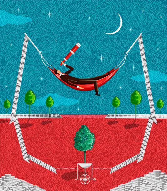 entdecken die welt in einer mondhellen nacht - entspannungsmethoden stock-grafiken, -clipart, -cartoons und -symbole