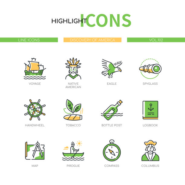 Discovery of America - modern line design style icons set vector art illustration