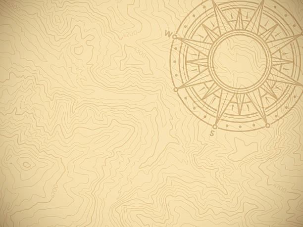 stockillustraties, clipart, cartoons en iconen met discovery topographic map background - geschiedenis