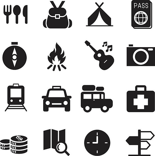 Discovery Traveling camping icons set illustration symbol Vector vector art illustration